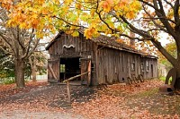 Wooden Barn with Old Metal
