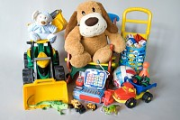 Plush and plastic toys isolated