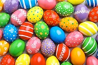 Many decorated Easter eggs, Festive tradition