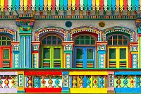 Facade of building in Little India, Singapore