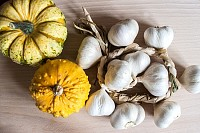 Pumpkins, Garlic and Squashes on a wooden table