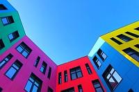 Multi-colored facades of a buildong