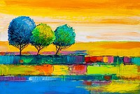 Oil painting landscape, colorful trees. Hand Paint