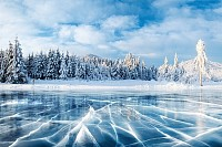 Frozen lake in winter mountains, Carpathian Ukrain