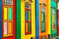Colorful facade of building in Little India, Singa