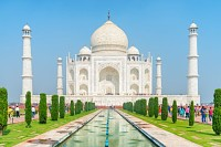 Taj Mahal on blue sky background in Agra, India