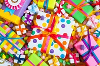 Colored gift boxes with colorful ribbons
