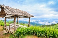 Bamboo huts on hill, Mon Cham hill, Thailand