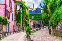 Street in quarter Montmartre in Paris, France