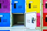 Rows of different colors metal lockers