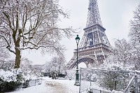 Eiffel tower on a day with heavy snow, Paris
