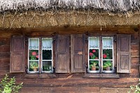 Old wooden house with window shutters