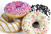 Colorful tasty donut on a white background. Green,