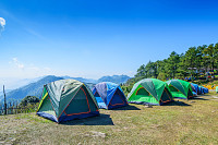 Camping and tent among meadow on hill, Chiang Mai,