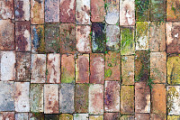 Old colorful cracked bricks as a background