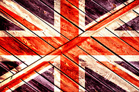 The British flag on a wooden background