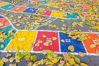 Hopscotch game painted on the floor as seen from a