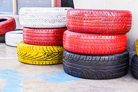 Colorful old used tires