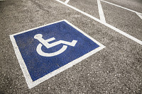 Handicapped Symbol Painted on a Parking Spot