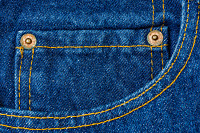 Close up of blue denim jeans, denim jeans texture.