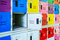 Rows of different colors metal lockers, select foc