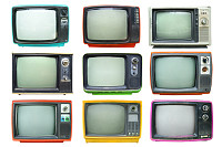 Set of retro television - Old vintage TV isolate o