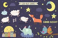 Good night isolated elements for your design. Swee