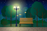 Night landscape with a bench in a city park. flat