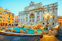 Trevi Fountain (Fontana di Trevi) in the morning l