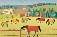 Early spring. Vector illustration of grazing horse