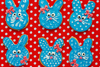 Funny bunny cookies, homemade gingerbread biscuits