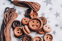 wooden buttons handmade in beautiful cotton fabric