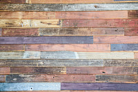 Multicolored teak wood wall background.