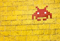 Mosaic Space Invader on Wall
