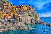 Picturous Town Over the Ocean