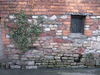 Old stable wall, hayloft above