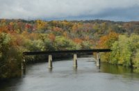 fall colors from over koppel bridge in Pa.