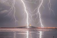 storm over skyway bridge