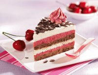 cake with cheries on the side