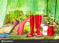 Red Gardening Tools and Boots