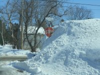Snow as high as the stop sign!    L