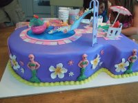 Cute Mermaid Pool Party Cake