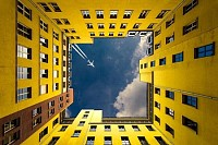 Look up to yellow and a plane