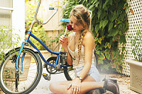 emili and her bike plus roses