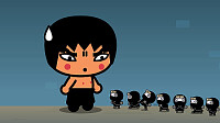 abyo ve a unos mini ninjas pucca