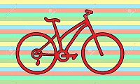 Red bicycle on striped background